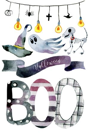 Set of hand-drawn elements painted in watercolor. Cute illustratio ns for Halloween. Watercolor halloween collection. Artistic autumn constructor clip art. In the picture: garland, cast, dog skeleton, sign, witch hat, Boo inscription. @Boykota_art Banque d'images - 131645753