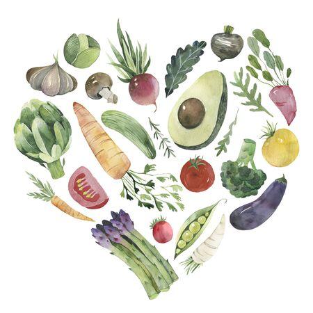 heart shaped vegetables set. watercolor fresh vegetables on a white background. Stok Fotoğraf