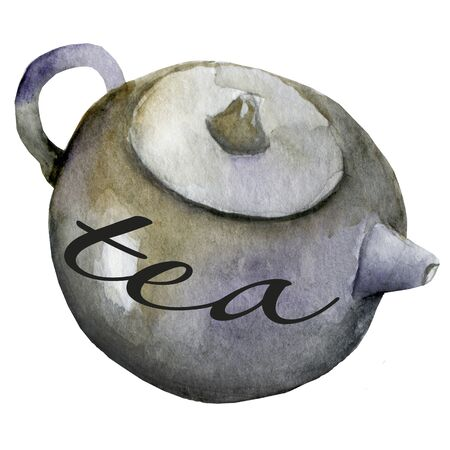 Waterecolor tea pot icon chinese, traditional, cup, japanese, illustration, teapot, drink