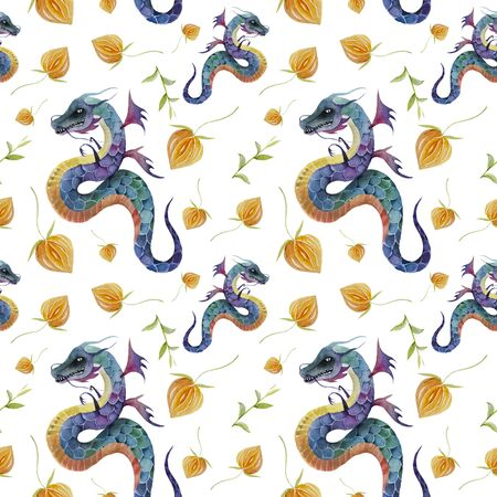 seamless pattern with dragons texture, textured, traditional, wallpaper Zdjęcie Seryjne