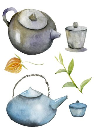 Watercolor Chinese elements Image is created manually Zdjęcie Seryjne