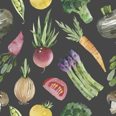 Watercolor vegetable seamless pattern on white background. Beetroot, carrot, cucumber, tomato, onion, garlic, potato, bell peppers. illustration.