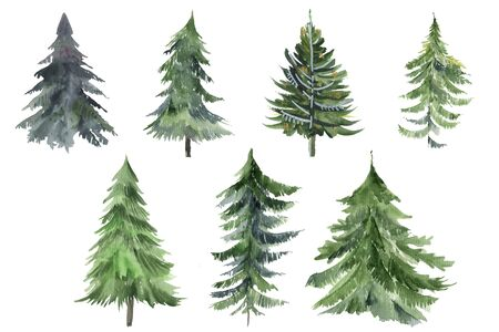 Set of Christmas tree watercolor icon. Collection of New Years xmas trees with heralds, striped christmas pine. 2020 winter holidays party green fir. Can be used for greeting card, invitation, banner, web design