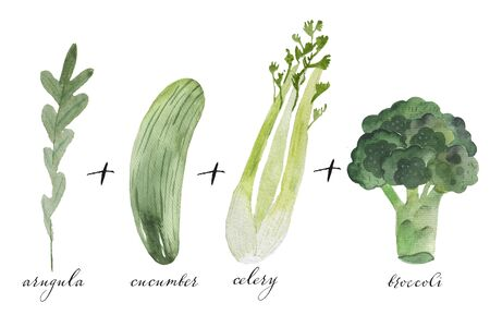 Doodle set of smoothie steps - broccoli, celery, arugula, cucumber, green juice, glass, super-food, hand-drawn. sketch illustration isolated over white background. 版權商用圖片