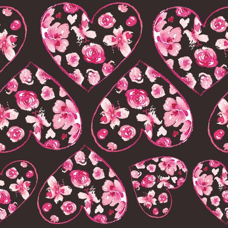 Watercolor seamless pattern with colorful hearts. Valentines background abstract illustration.