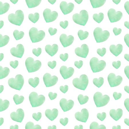 Repeated Watercolor hearts in romantic style. Pattern for valentines. Stok Fotoğraf