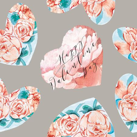 Repeated Watercolor hearts in romantic style. Pattern for valentines. Can be used on packaging paper, fashion clothes, wrapping paper.