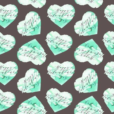 Seamless watercolor hearts pattern. Creative abstract texture for wedding invitation, card for Valentines Day or card about love. Freehand drawing.