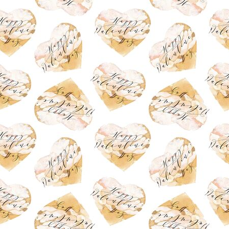 Valentines day seamless pattern with hearts isolated on white background. Design backdrop for Wedding Invitation Card. Freehand drawing.