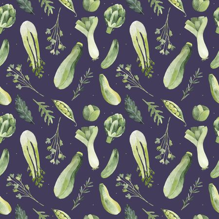 Vegetarian seamless pattern. Watercolor. seamless texture with detailed hand-painted vegetables.