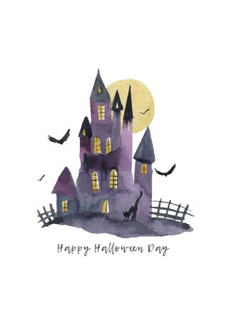 Halloween castle grave yard background with a spooky haunted castle, trees and graves Imagens