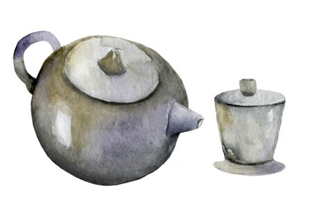 Tea drinking. Illustration of teapot with tea in asian style. Chinese hieroglyphs for tea drinking and aroma of tea