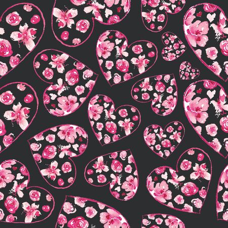 Seamless pattern with hand drawn hearts. Creative abstract texture for wrapping, textile, wallpaper.