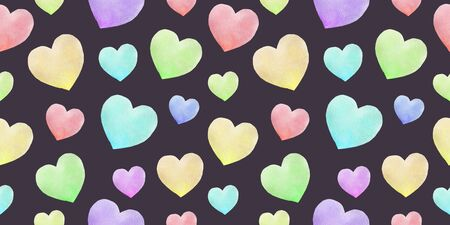 Watercolor seamless pattern with colorful hearts. Valentines background abstract illustration. Cute romantic seamless pattern. Freehand drawing.