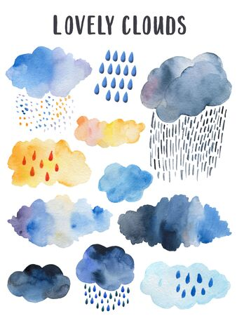 Watercolor rainy cloud. Scandinavian poster for childrens room decor. Isolated cartoon weather illustration of drops fall from overcast cloud.