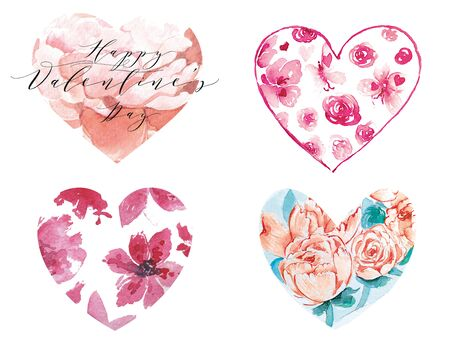 Set of watercolor hearts. Creative abstract collection in floral design for wedding invitation, card for Valentines Day or card about love. Freehand drawing Stok Fotoğraf