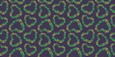 Watercolor seamless pattern with tropical hearts. Valentines background abstract illustration. Cute romantic seamless pattern. Freehand drawing. Stok Fotoğraf