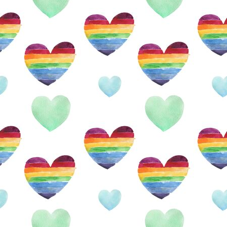 Valentines day seamless pattern with lgbt hearts isolated on white background. Design backdrop for Wedding Invitation Card. Freehand drawing. Can be used on packaging paper, packaging, wedding, birthday.