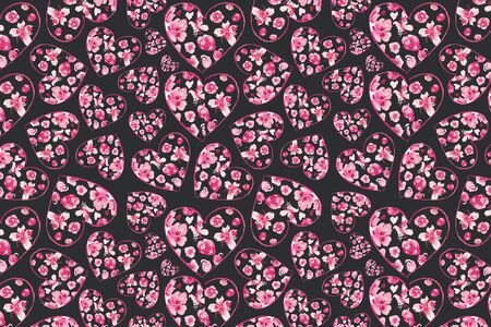Vintage Floral Pattern. Heart Shape made of rose. Valentines Day Background. Good for web, Print, Wrapping Paper.
