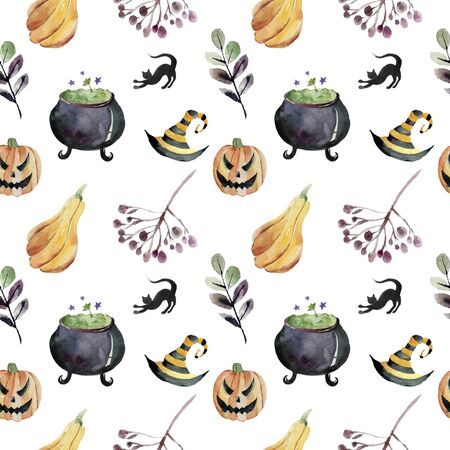 Seamless pattern for Halloween. Pumpkin, ghost, bat, candy, and other items on Halloween theme. Bright cartoon pattern for Halloween