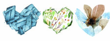 Set of Cute Watercolor Hearts Clip Art with Various Painted Patterns. Perfect for Valentines Day Designs Stok Fotoğraf