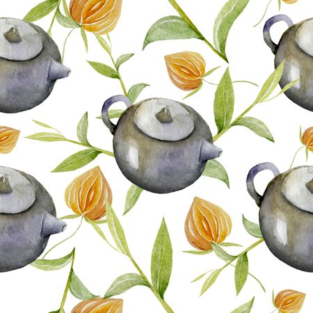 pattern of cute kitchen teapot, toaster, cup with egg, apples and toast on pastel blue background. can be used like pattern for home textile Imagens