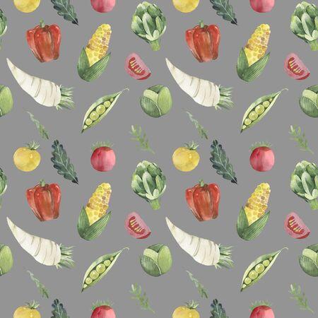Watercolor painted pattern of vegetables. Vegan and organic food. Artichoke, pepper, corn, peas, tomato, horseradish, radish