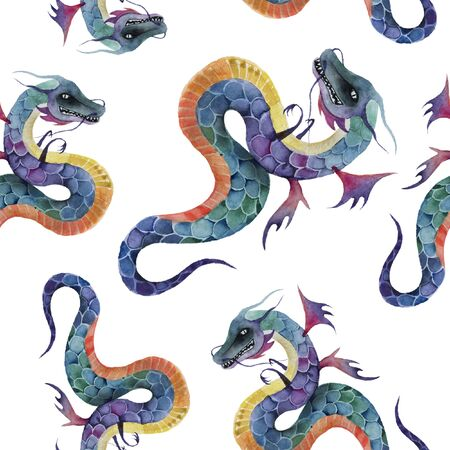 Watercolor seamless pattern with dragons. Chinese culture.