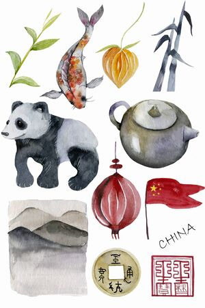 flag, vase, porcelain, bamboo, tea, teapot, coin, physalis, dragon, carp, Panda, fish, koi