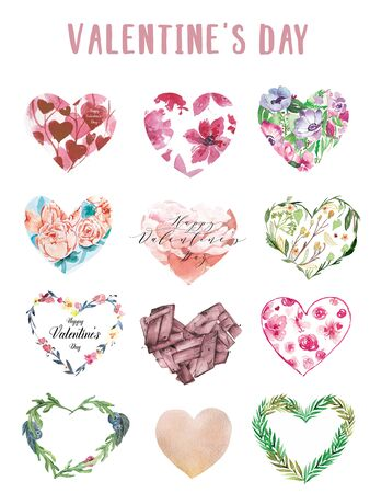 Watercolor floral hearts set collection on white background. Watercolor hearts in romantic style. Can be used on packaging paper, fashion clothes, wrapping paper.