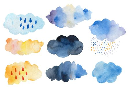 Retro clouds and rain in the sky illustration blue scandinavian style background Retro clouds and rain in the sky illustration blue scandinavian style background Stok Fotoğraf