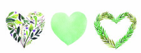 Watercolor hearts set collection on white background