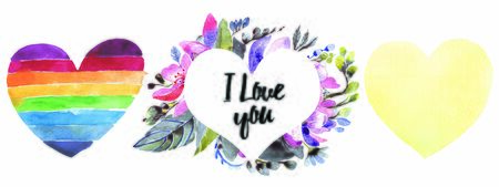 Floral hearts set. Watercolor illustration on a white background. Greeting cards with heart shape Stok Fotoğraf