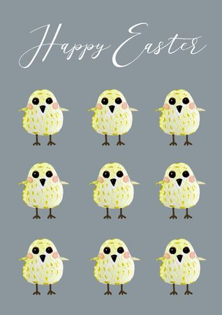 Cute cartoon chicken set. Funny yellow chickens watercolor illustration. Happy Easter card with text, hand drawn illustration Stok Fotoğraf