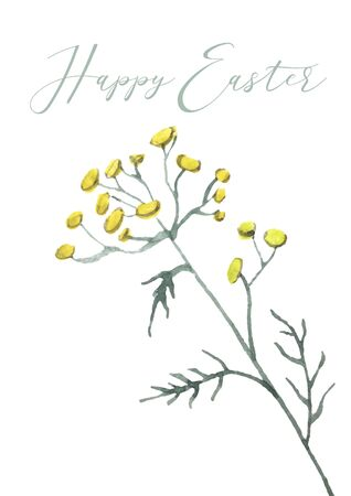 Happy Easter card design with lettering text and yellow plant. Happy Easter sign for Easter postcard, invitation, poster, banner. Watercolor seasonal greeting