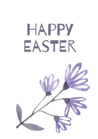 Happy Easter with blue flowers for greeting card, invitation template.