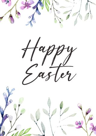 Happy Easter floral invitation card