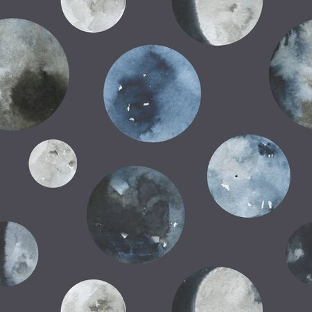Moon pattern watercolor illustration. Trendy hand painted Moon various phases on white background