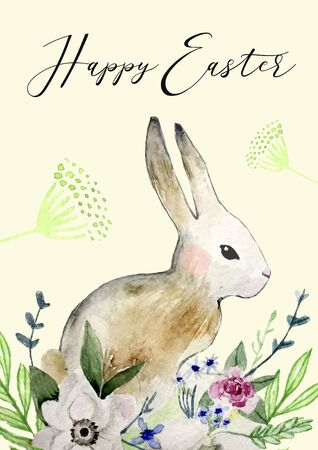 Easter bunny with flowers and leaves. Happy Easter card with watercolor background. Easter design with cute rabbit and text, hand drawn illustration.