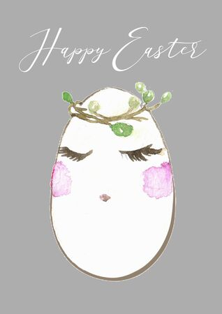 Easter background with egg from cute elements: bunny, bird, branches, flowers, berries, butterflies and text Lets go on an egg hunt . Bright holiday card. Childish background in cartoon style