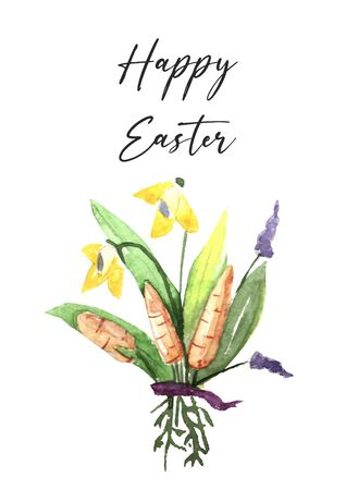 Easter greeting cute design with spring flowers daisy, mimosa and daffodils, calligraphy inscription Happy Easter on egg silhouette on turquoise background.  Illustration. Stok Fotoğraf