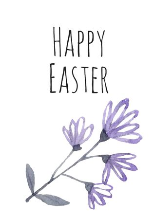 Easter greeting cute design with spring blue flowers brunch, calligraphy inscription Happy Easter on white background. Illustration. Stok Fotoğraf