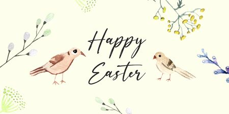 happy Easter greeting card. Birds and plants on a yellow background. Watercolor illustration Stok Fotoğraf