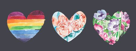Set of Cute Watercolor Hearts Clip Art with Various Painted hearts. Perfect for Valentines Day Designs