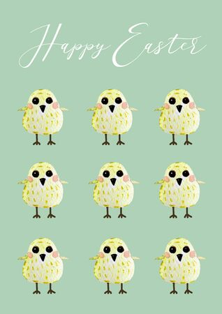 Set of chicks. Watercolor easter postcard. Easter chicken
