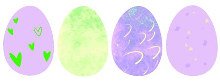 Set of color Easter eggs. Cute eggs with colorful textures. Collection for Easter isolated on a white background.