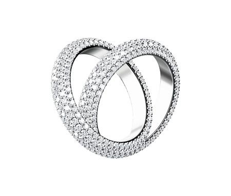 collares: Anillo de diamantes aislados sobre fondo blanco Foto de archivo