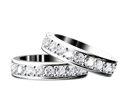 anillo de boda: El anillo de bodas de belleza en el fondo blanco