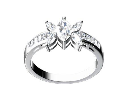 pendant: Diamond ring isolated on white background