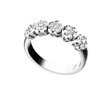 다이아몬드 반지는 흰색 배경에 고립
